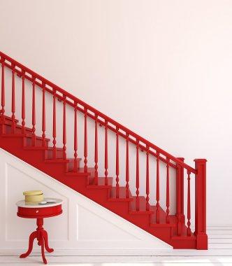 Wooden stairway.. 3d rendering.