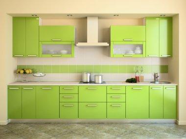 Modern green kitchen.