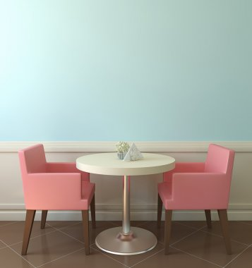 White table and pink chairs