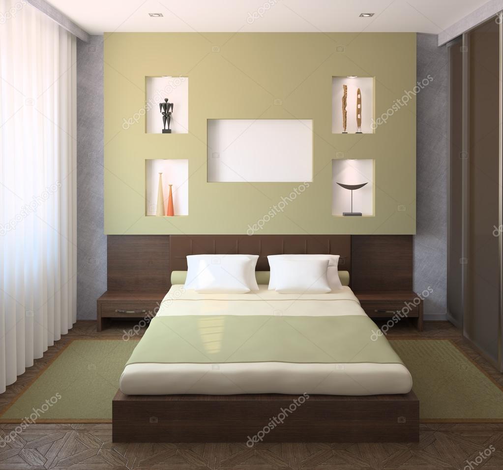 현대 침실 인테리어 — 스톡 사진 © poligonchik #74090485