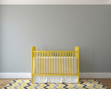 Interior of nursery with yellow crib
