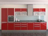 modern piros konyha