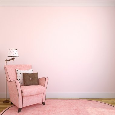 interior with pink armchair