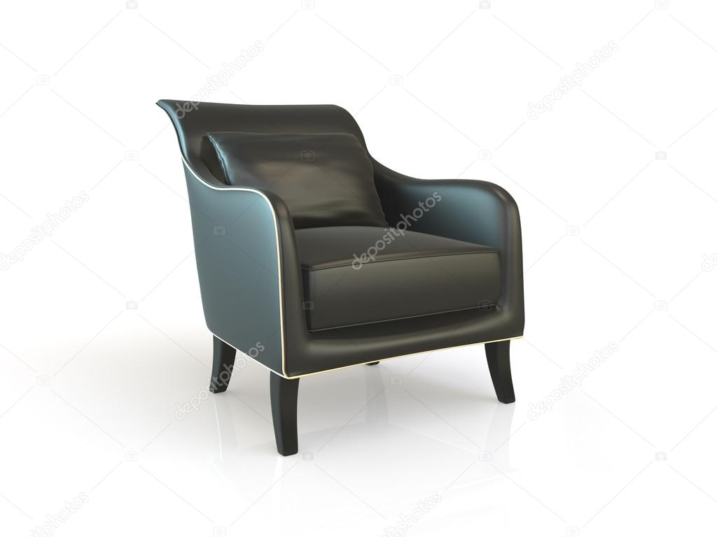 Zwarte lederen fauteuil u stockfoto poligonchik