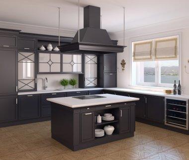 classic black kitchen.