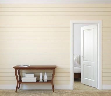 Modern hallway with open door.