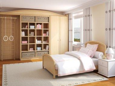 Interior of girl's bedroom.