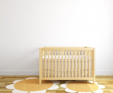 Interior of nursery with wooden crib