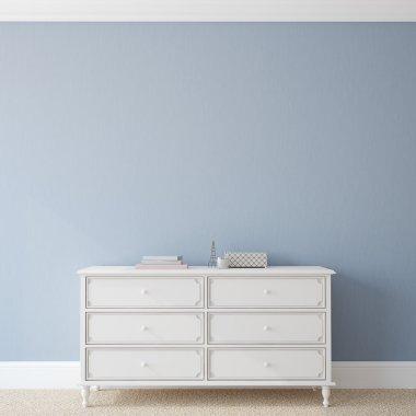 Interior with dresser near empty blue wall
