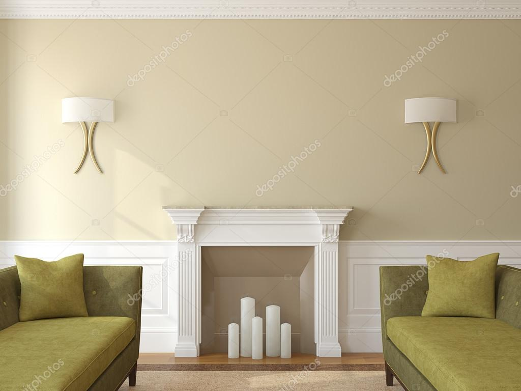 Salon moderne avec cheminée — Photographie poligonchik © #78990418