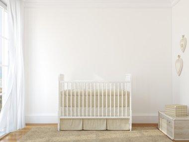 Interior of nursery with vintage crib