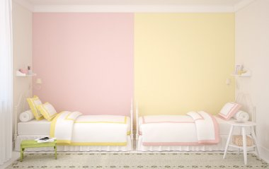 Interior of nursery for two children.