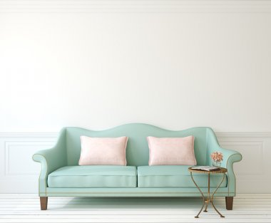Romantic interior with blue couch