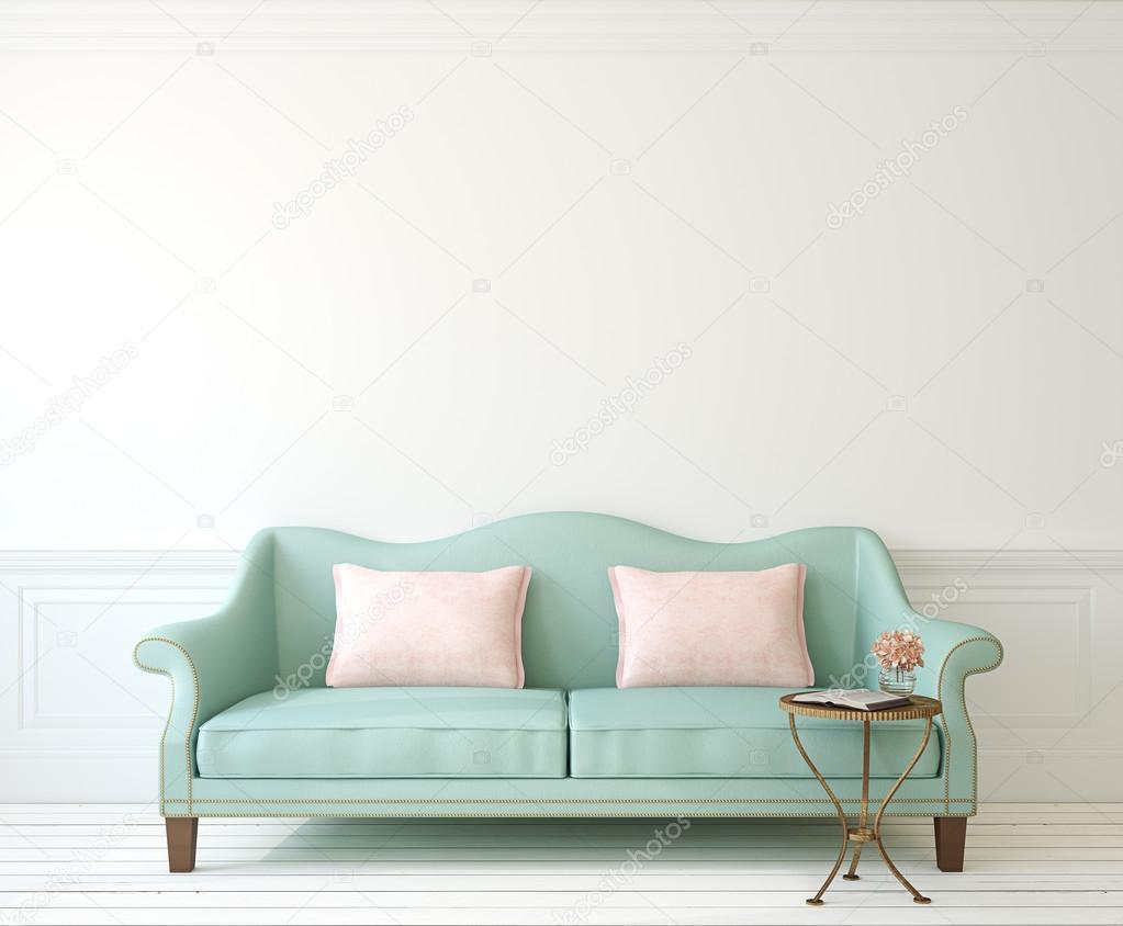 Romantische Interieur Mit Blaue Couch U2014 Stockfoto