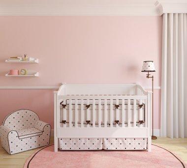 Interior of nursery for girl