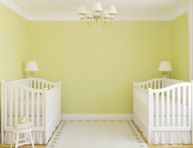 nterior of cozy nursery for twins