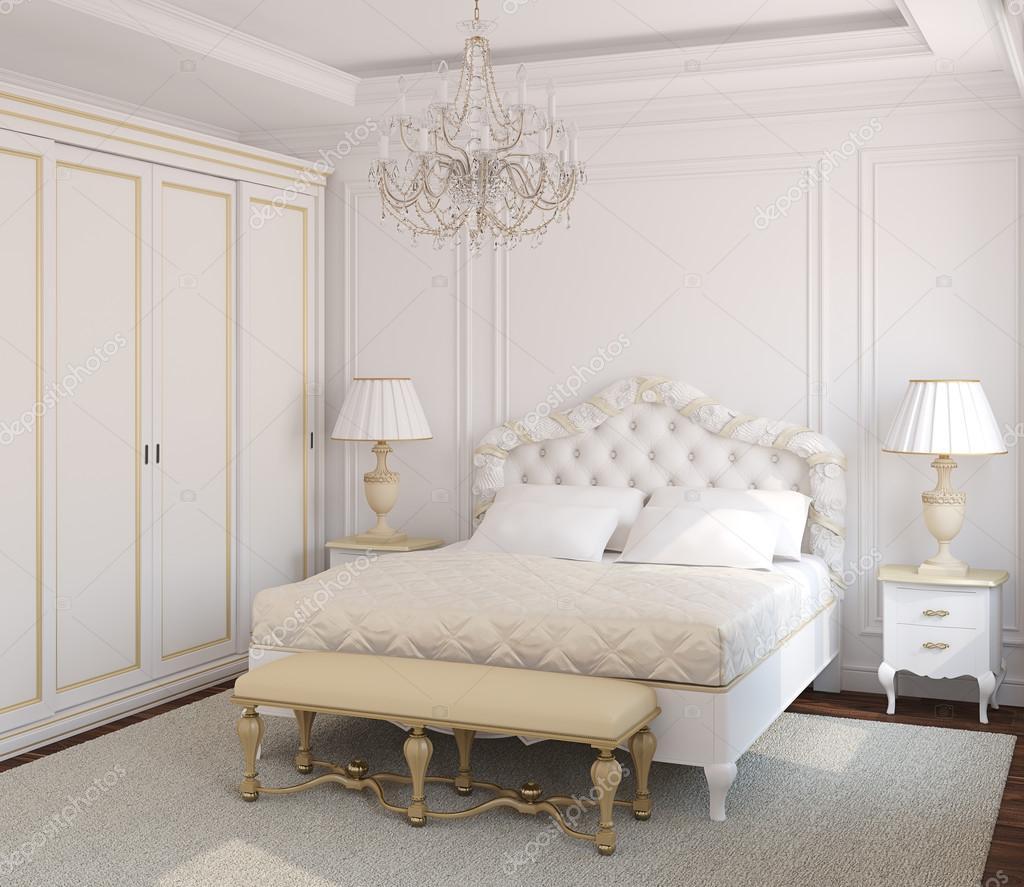 Interno camera da letto bianca classica. — Foto Stock ...