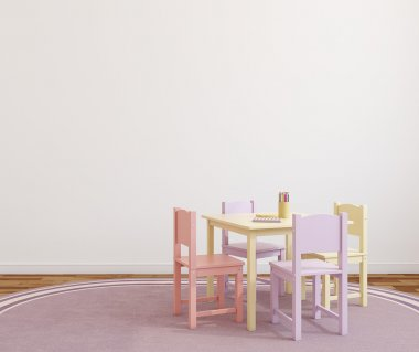 small table and four chairs.
