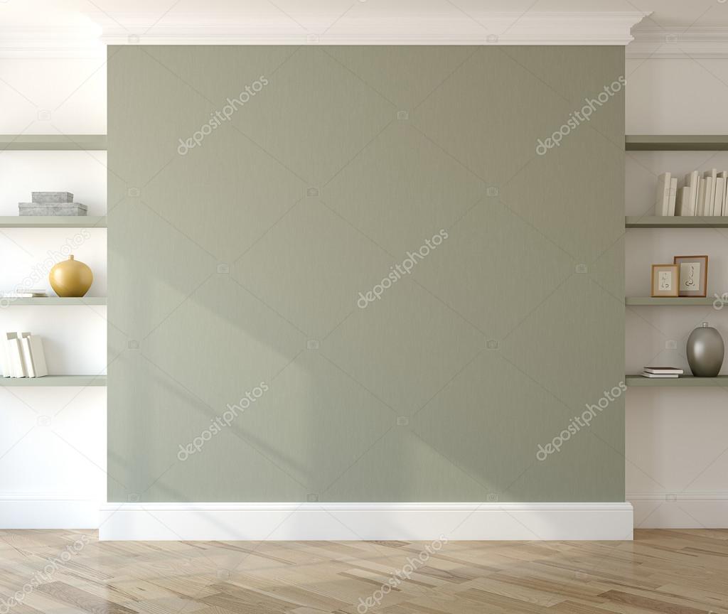 Interieur met lege groene muur stockfoto poligonchik 92319452 - Interieur muur ...