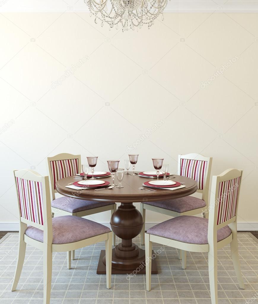Interieur van de eetkamer. 3D-rendering — Stockfoto © poligonchik ...