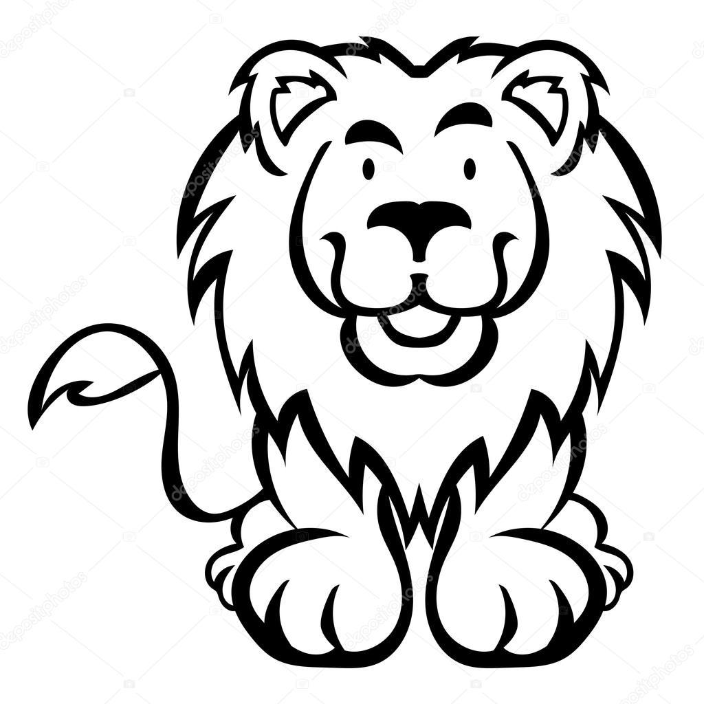 Lindo León de dibujos animados aislados sobre fondo blanco como ...