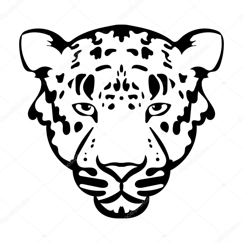 Vector illustration of leopard face black and white tattoo — Stock ... for Clipart Leopard Face  181obs