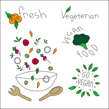 Vegan food icons