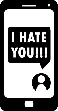 Cyberbullying, I hate you message on smartphone display, vector