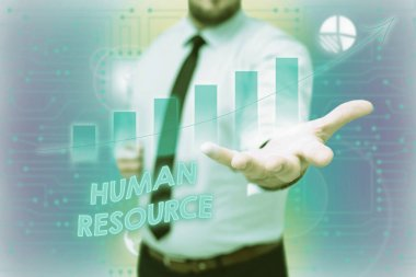 Writing displaying text Human Resource. Business showcase a critical department handling the staffing and employees concern Gentelman Uniform Standing Holding New Futuristic Technologies.