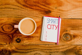 Bildunterschrift: Smart City. Konzeptionelles Foto eines Stadtgebiets, das Kommunikationstechnologien nutzt, um Daten zu sammeln.