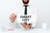 Handschriftlicher Text Smart City. Unternehmen nähern sich einem städtischen Gebiet, das Kommunikationstechnologien nutzt, um Daten zu sammeln.
