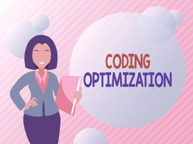 Conceptual display Coding Optimization. Business overview method of code modification to improve code quality Abstract Discussing Important News, Explaining And Reporting Concept