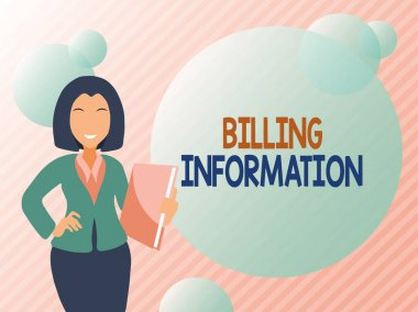 Conceptual display Billing Information. Concept meaning address connected to a specific form of payment Abstract Discussing Important News, Explaining And Reporting Concept