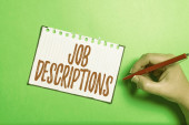 Conceptual caption Job Descriptions. Business showcase a formal account of an employee s is responsibilities Brainstorming Problems And Solutions Asking Relevant Questions