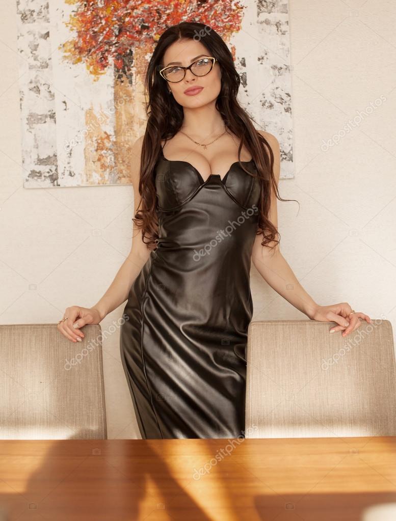 Black sexy dress boobs