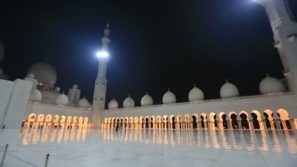Sheikh Zayed Grand Mosque Abu Dhabi UAE, night pan shot