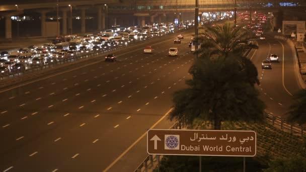traffic jam on Sheikh Zayed Road at night