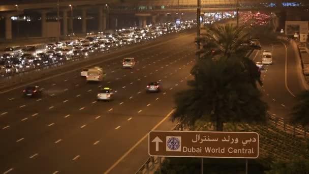 time lapse traffic jam on Sheikh Zayed Road at night
