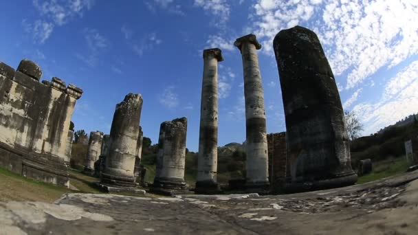 time lapse Artemis Temple and cloudscape background