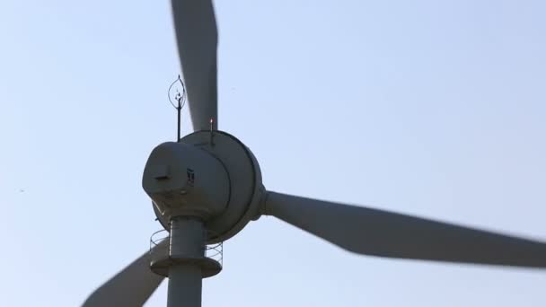 close up wind turbines generating clean power