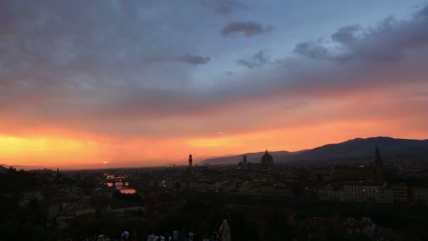 Čas zániku letecké Panorama Florencie při západu slunce