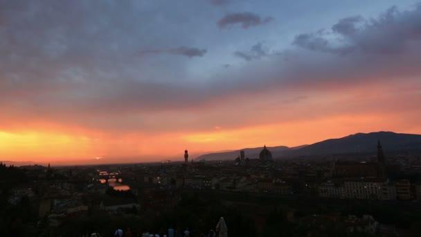 Sledování snímku čas zanikla letecké Panorama Florencie při západu slunce
