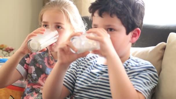 Šťastný malý chlapec a dívka pije sklenici mléka