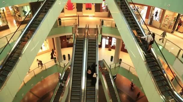 people on escalators. people in escalators at the mall stock video on