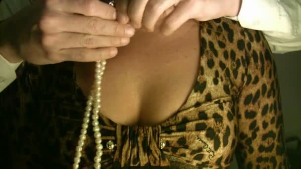 Romantic surprise with pearl necklace