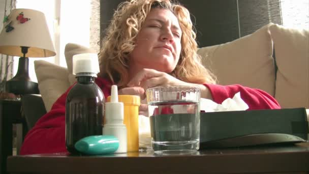 Sick women sneezing