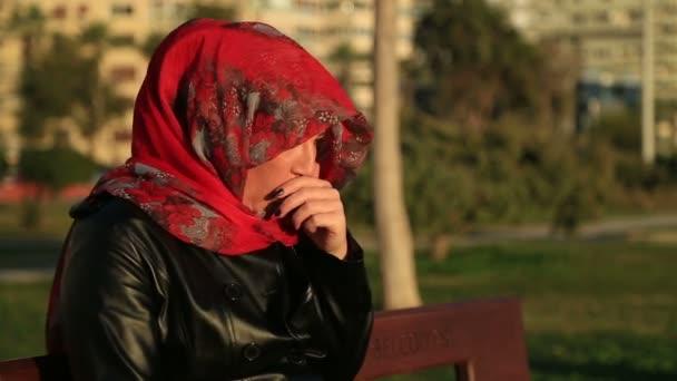 Sick muslim woman sneezing.mov