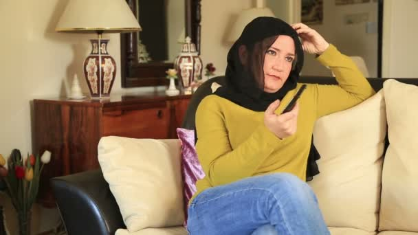 Muslim woman having waist pain 2