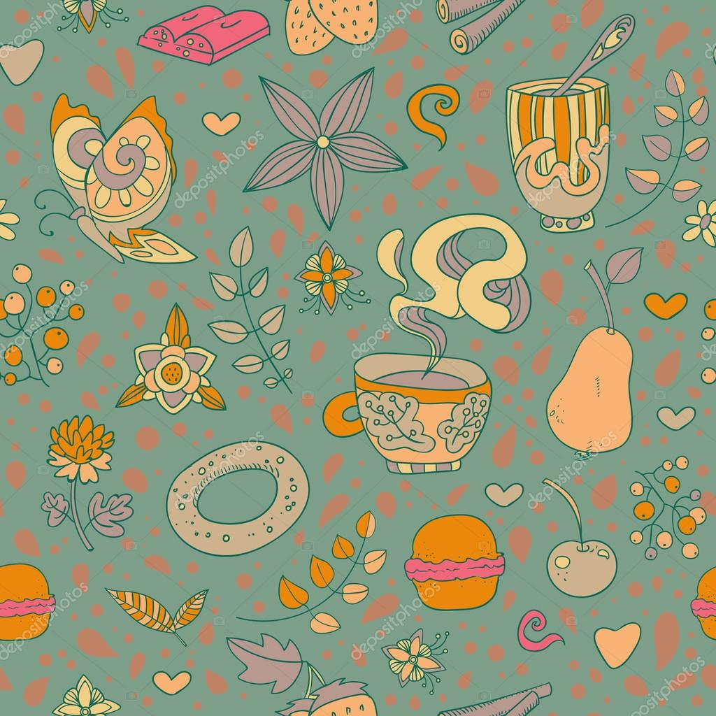 Seamless vector hand drawn background with sweets, tea, cupcake, coffee and flowers