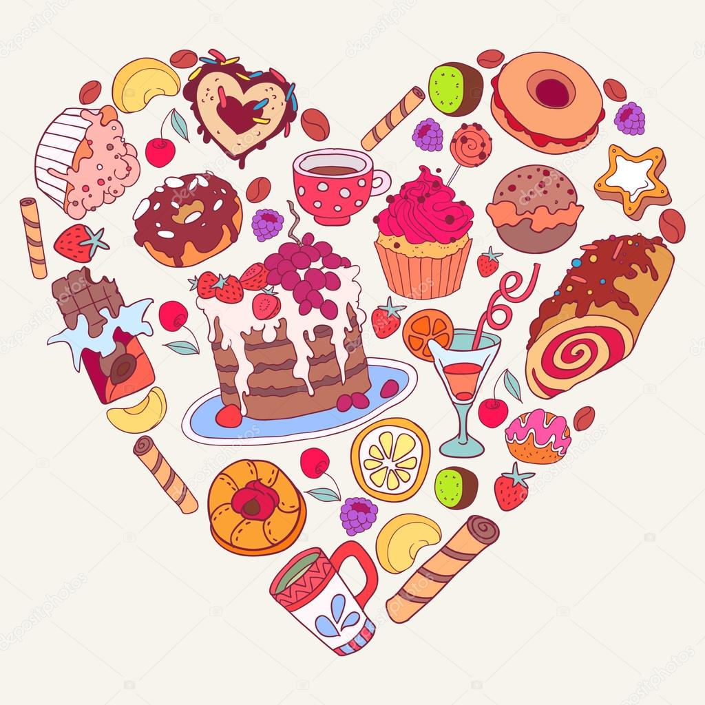 vector yummy cartoon chocolate background with sweets